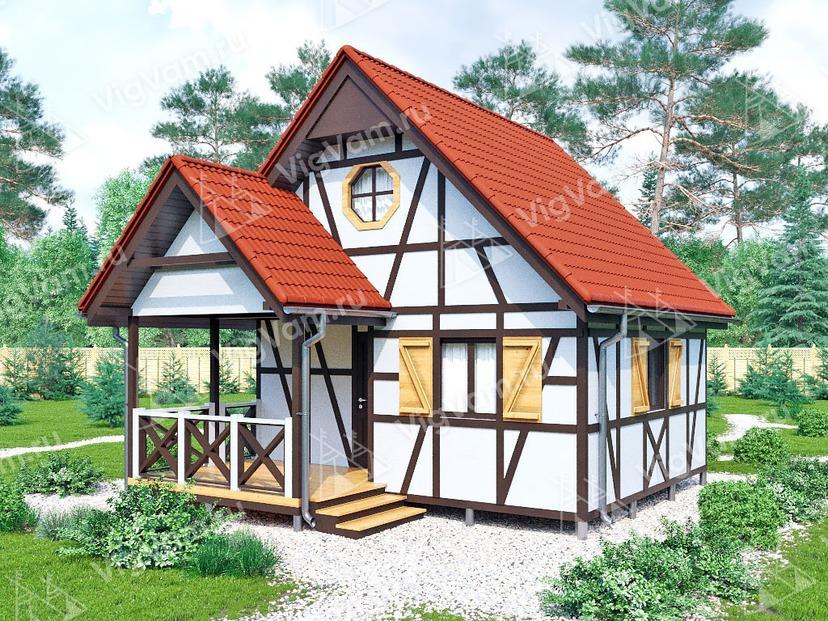 """Каркасный дом с мансардой V449 """"Дентон"""""""