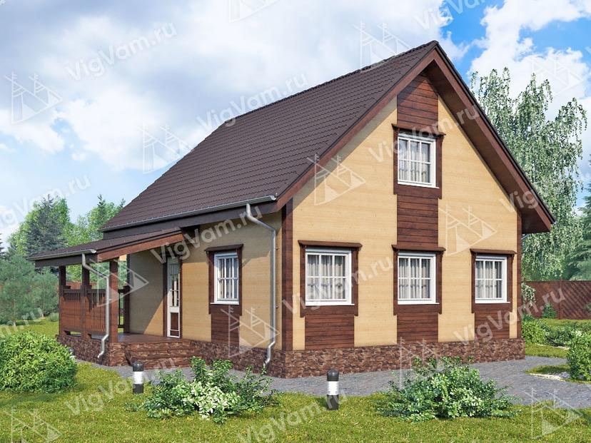 """Каркасный дом с мансардой V459 """"Визалия"""""""