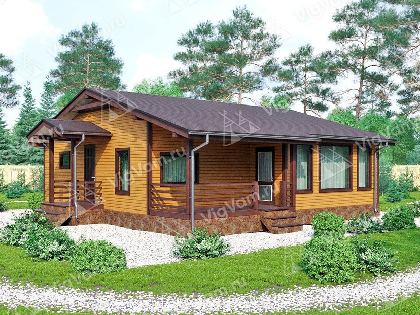 """Каркасный дом с террасой и 3 спальнями V447 """"Джэксонвилл"""""""