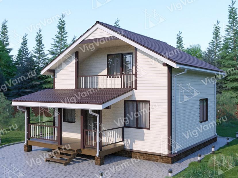 """Каркасный дом с мансардой и 3 спальнями V440 """"Шарлотт"""""""