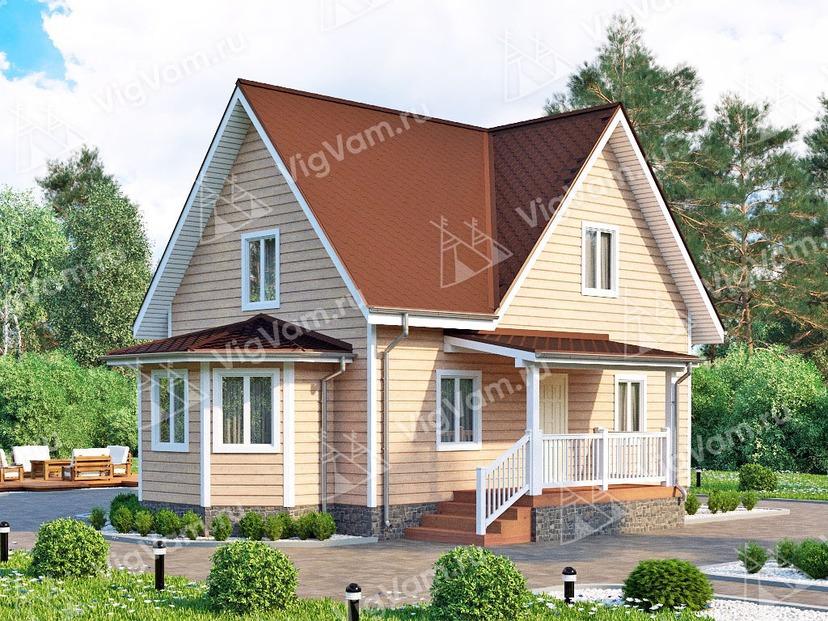 """Каркасный дом с эркером V386 """"Сиэтл"""""""