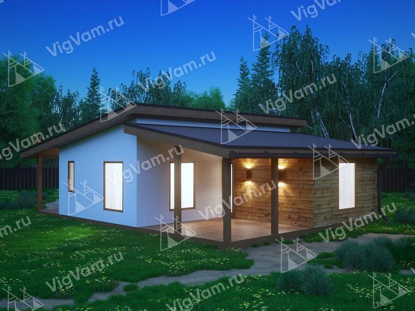 """Дом из газобетона одноэтажный VG431 """"Атенс"""""""