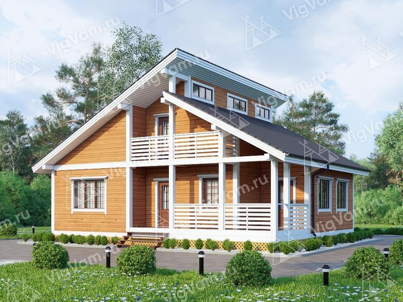 """Каркасный дом с тремя спальнями, сауной, террасой V404 """"Саванна"""""""