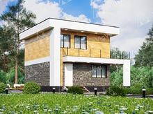 """Каркасный дом с террасой V378 """"Такома"""""""