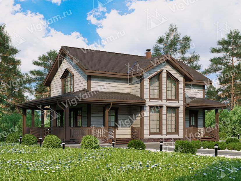 """Каркасный дом с террасой V377 """"Таллахасси"""""""