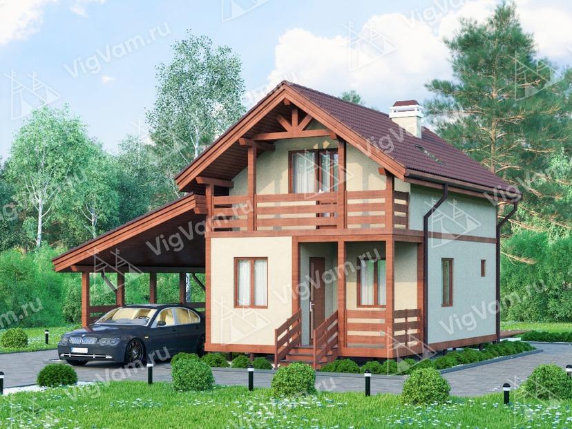 """Дом из керамического блока с навесом для двух машин VK402 """"Салинас"""""""