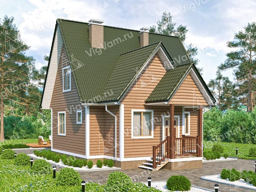 """Каркасный дом с мансардой V394 """"Саут-Бенд"""""""