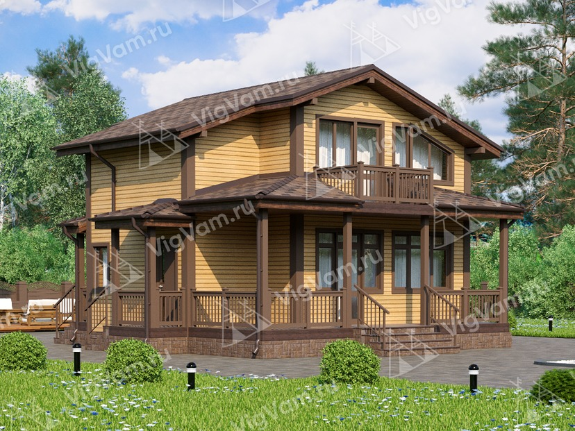 """Каркасный дом с мансардой и 4 спальнями V368 """"Хай-Пойнт"""""""