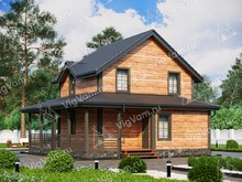 """Каркасный дом с террасой V376 """"Талса"""""""