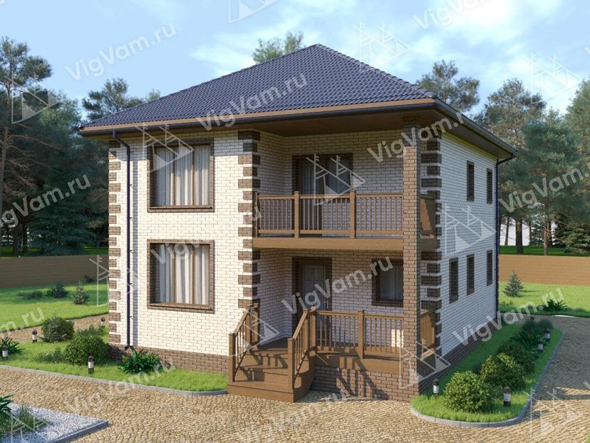"""Каркасный дом с 3 спальнями и террасой V296 """"Чаттануга"""""""