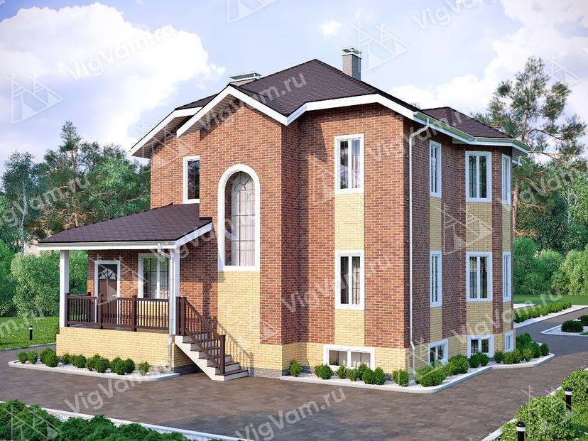 """Каркасный дом c террасой и эркером V357 """"Ноксвилл"""""""