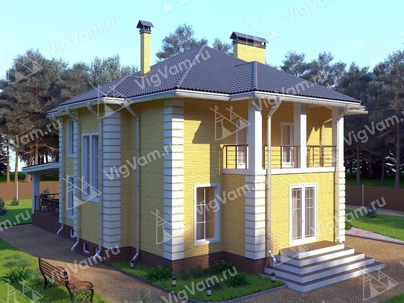 """Каркасный дом с 3 спальнями и террасой V319 """"Лафайетт"""""""