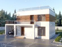 """Каркасный дом с навесом для машины V338 """"Мэдисон"""""""