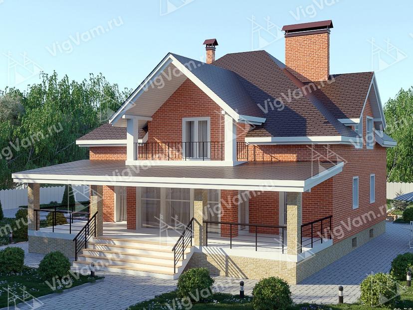 """Каркасный дом с террасой V337 """"Палм-Бэй"""""""