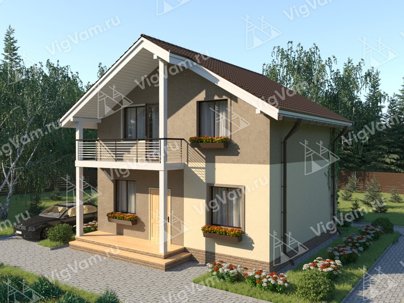 """Дом из керамического блока с мансардой VK355 """"Норуолк"""""""