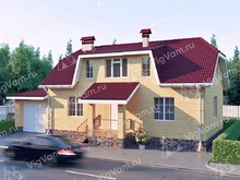 """Каркасный дом с гаражом и 3 спальнями V332 """"Пеория"""""""