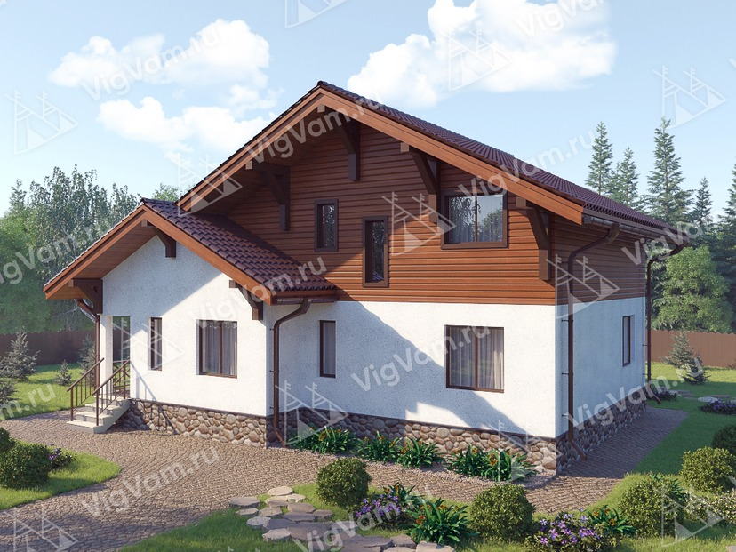 """Каркасный дом с мансардой V351 """"Макаллен"""""""