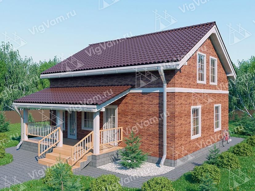 """Каркасный дом с 3 спальнями и террасой V329 """"Помона"""""""