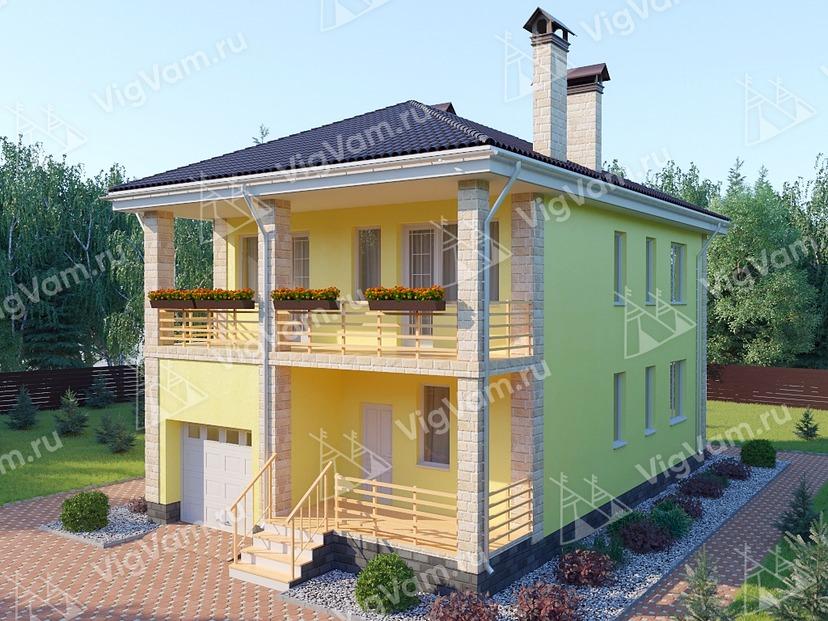 """Каркасный дом с гаражом V328 """"Помпано-Бич"""""""