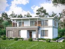 """Каркасный дом с террасой V265 """"Фаузенд-Оукс"""""""