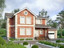 """Каркасный дом с гаражом и 3 спальнями V261 """"Флинт"""""""