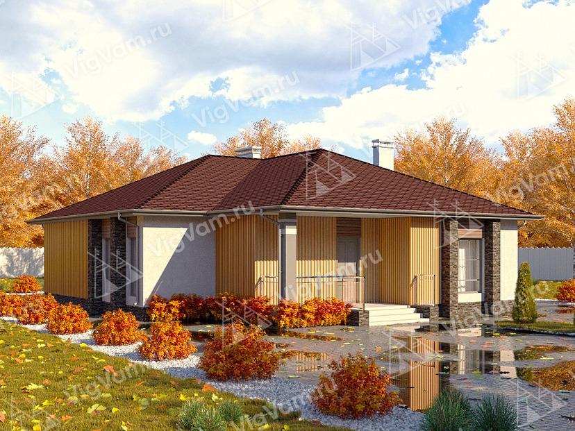 """Дом из керамического блока с террасой VK219 """"Нью-Джерси"""""""