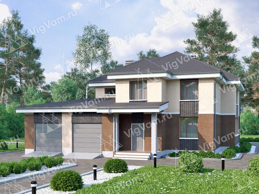 "Каркасный дом с гаражом на 2 машины V174 ""Цамден"""