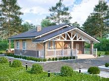 """Каркасный дом с террасой V214 """"Род Айленд"""""""
