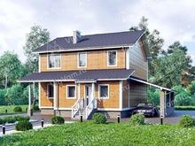 """Каркасный дом с навесом для машины V173 """"Харрисон"""""""