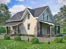 """Каркасный дом с 3 спальнями и террасой V152 """"Ваил"""""""