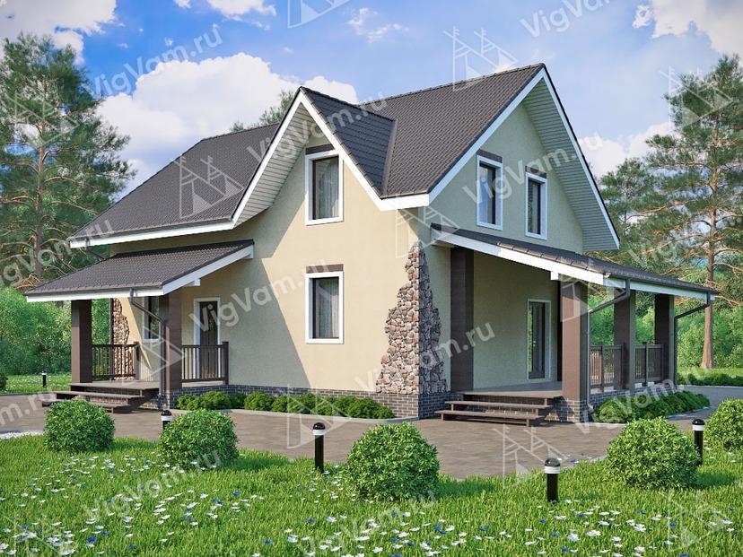 """Дом из керамического блока с 3 спальнями и террасой VK152 """"Ваил"""""""