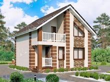 """Каркасный дом с  мансардой и балконом V151 """"Валсенбург"""""""