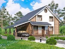 """Каркасный дом с навесом для авто V150 """"Бранфорд"""""""