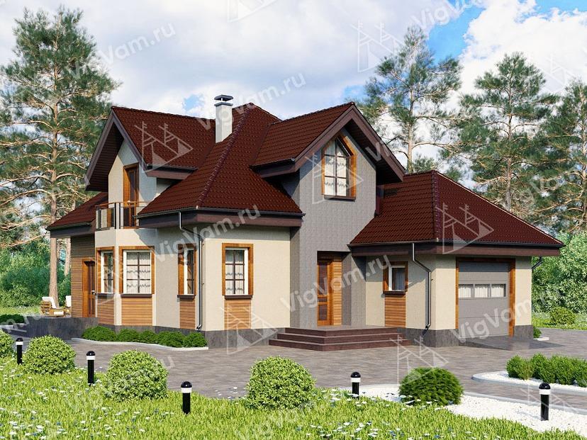 """Каркасный дом с гаражом и эркером V192 """"Яспер"""""""
