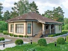 """Каркасный дом с террасой и 3 спальнями V148 """"Гротон"""""""