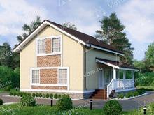 """Каркасный дом с террасой и 3 спальнями V146 """"Гуилфорд"""""""