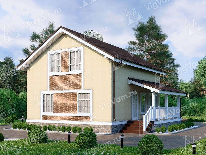 """Дом из газобетона с террасой и 3 спальнями VG146 """"Гуилфорд"""""""