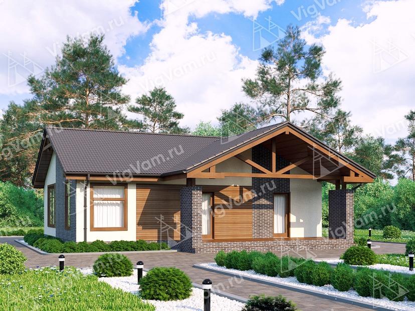 """Каркасный дом с террасой V234 """"Айдахо"""""""