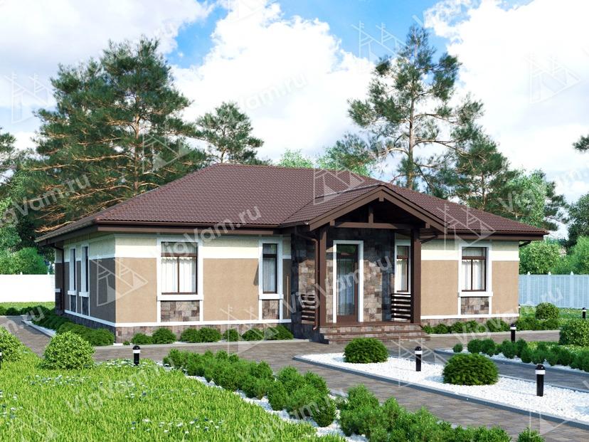 """Каркасный дом с 3 спальнями, террасой и котельной V233 """"Иллинойс"""""""