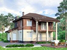 """Каркасный дом с террасой и балконом V189 """"Озарк"""""""