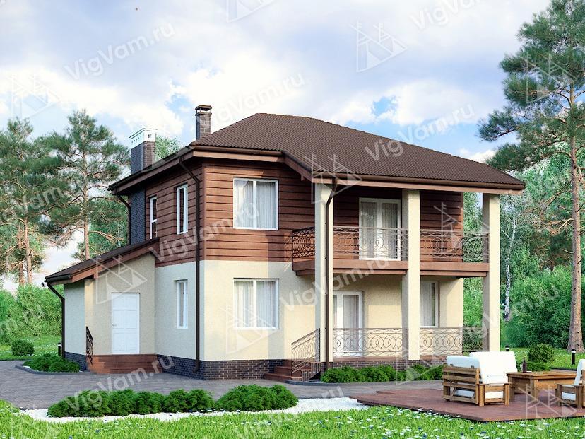 """Дом из керамического блока с террасой и балконом VK189 """"Озарк"""""""