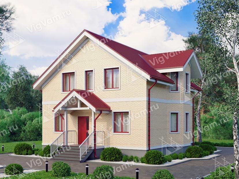 """Каркасный дом с эркером и 3 спальнями V188 """"Причард"""""""