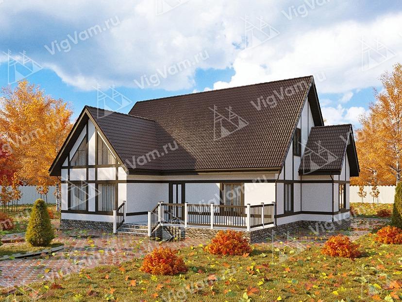 """Каркасный дом с террасой V229 """"Луизиана"""""""