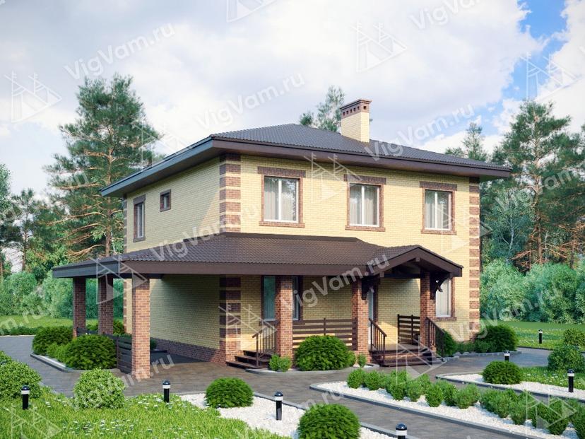"""Каркасный дом с 3 спальнями и навесом для машины V186 """"Хаинес"""""""