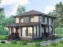 """Каркасный дом с 3 спальнями и террасой V184 """"Кодиак"""""""
