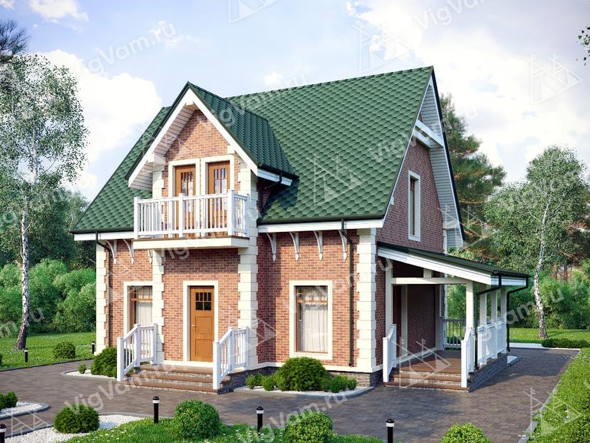 """Каркасный дом с террасой V223 """"Монтана"""""""