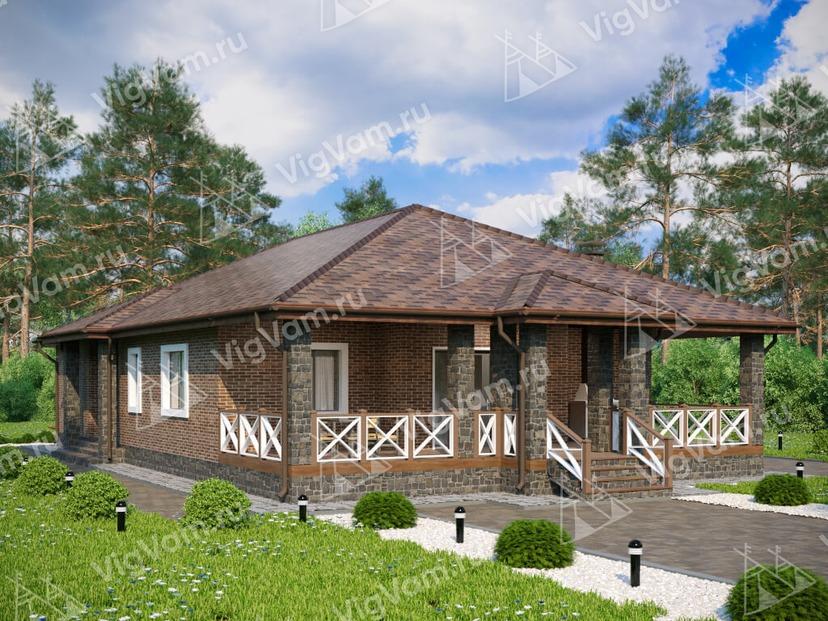 """Каркасный дом с террасой V090 """"Нью Рочелле"""""""