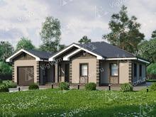 """Каркасный дом с гаражом и террасой V117 """"Принстон"""""""