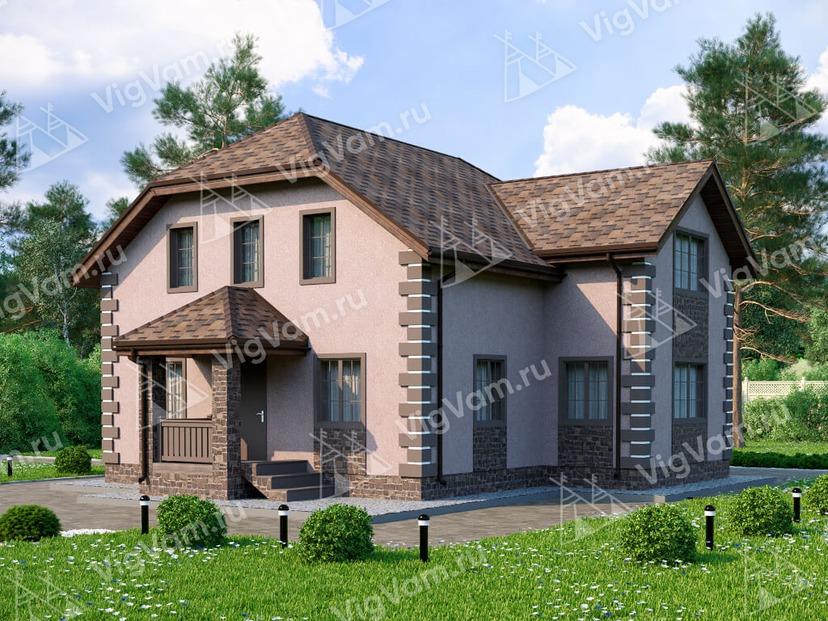"""Дом из керамического блока с 3 спальнями и мансардой VK085 """"Олеан"""""""