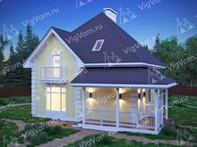 """Каркасный дом с террасой и мансардой V143 """"Дариен"""""""